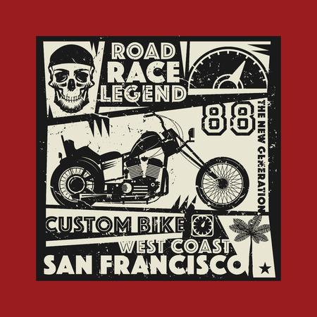 motocycle: Vintage Motorcycle sport label, vector illustration