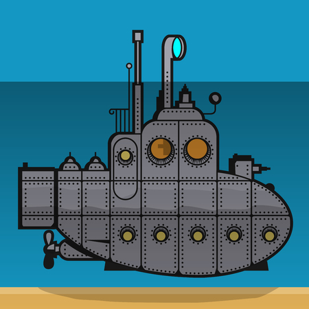 sky dive: Submarine underwater, vector illustration.