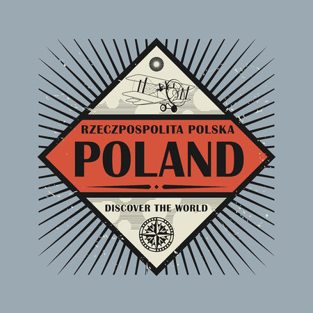 discover: Stamp or vintage emblem with text Poland, Discover the World, vector illustration