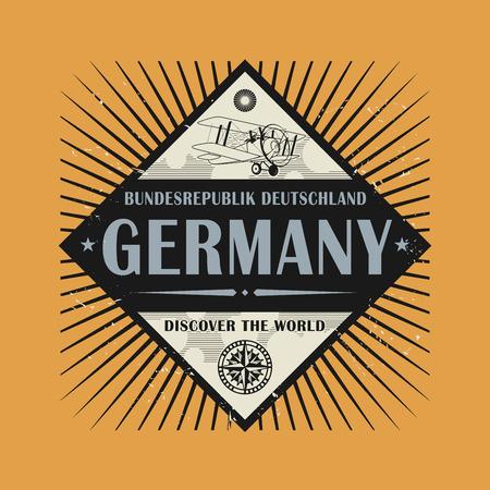 Stamp or vintage emblem with text Germany, Discover the World, vector illustration Illustration