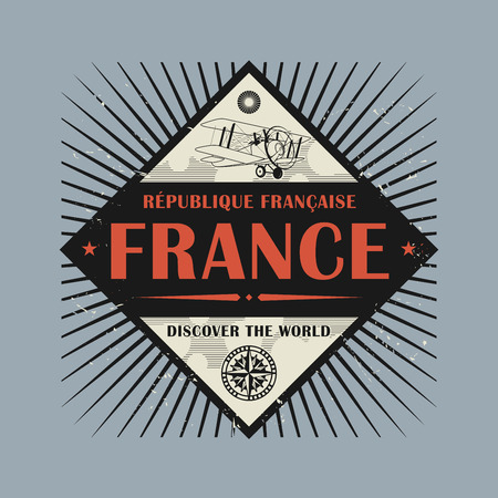 discover: Stamp or vintage emblem with text France, Discover the World, vector illustration