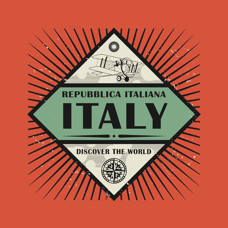 discover: Stamp or vintage emblem with text Italy, Discover the World, vector illustration Illustration