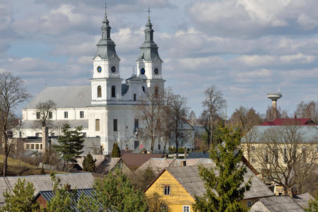 bilding: Church of Zemaiciu Kalvarija. Zemaiciu Kalvarija is a small town in Plunge district municipality, Lithuania. It is known as a major site for Catholic pilgrimage. Stock Photo