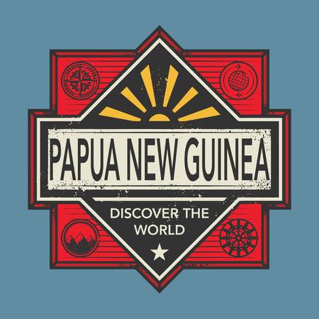 Timbre ou emblème vintage avec texte Papouasie-Nouvelle-Guinée, découvrir le monde, illustration vectorielle