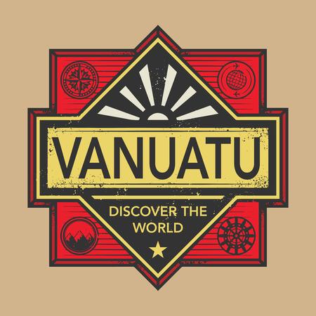 discover: Stamp or vintage emblem with text Vanuatu, Discover the World, vector illustration Illustration