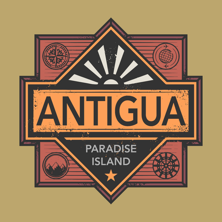 discover: Stamp or vintage emblem with text Antigua, Discover the World, vector illustration