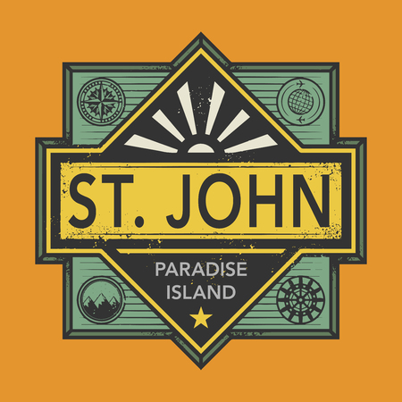 john: Stamp or vintage emblem with text St. John, Discover the World, vector illustration Illustration