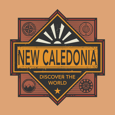 discover: Stamp or vintage emblem with text New Caledonia, Discover the World, vector illustration