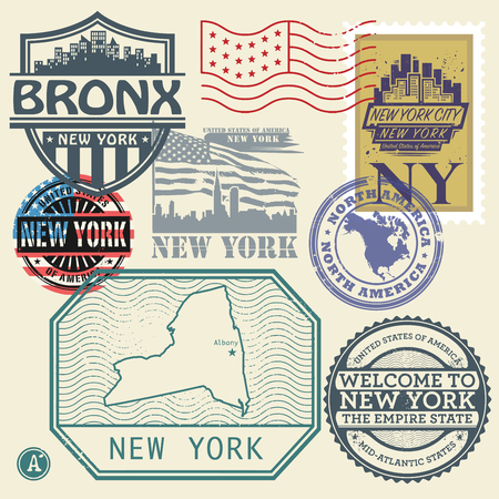 albany: Stamp set with the name and map of New York, United States, vector illustration Illustration