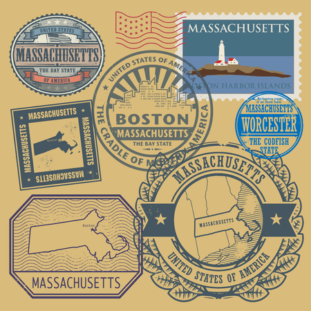 boston: Stamp set with the name and map of Massachusetts, United States, vector illustration