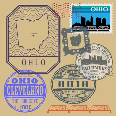 usa stamp: Stamp set with the name and map of Ohio, United States, vector illustration