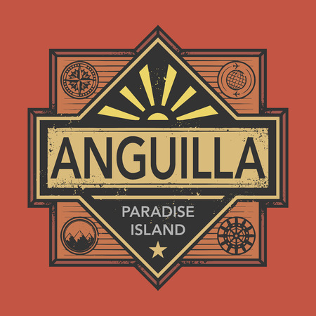 discover: Stamp or vintage emblem with text Anguilla, Discover the World, vector illustration Illustration