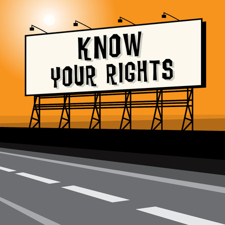Roadside billboard, business concept with text Know Your Rights, vector illustration