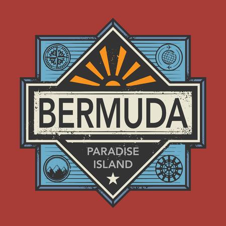 discover: Stamp or vintage emblem with text Bermuda, Discover the World, vector illustration Illustration