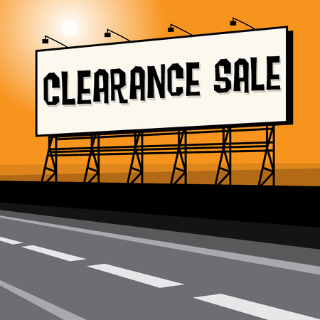 retailing: Roadside billboard, business concept with text Clearance Sale, vector illustration