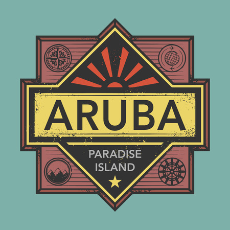 discover: Stamp or vintage emblem with text Aruba, Discover the World, vector illustration Illustration