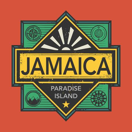 discover: Stamp or vintage emblem with text Jamaica, Discover the World, vector illustration Illustration