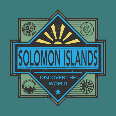 discover: Stamp or vintage emblem with text Solomon Islands, Discover the World, vector illustration