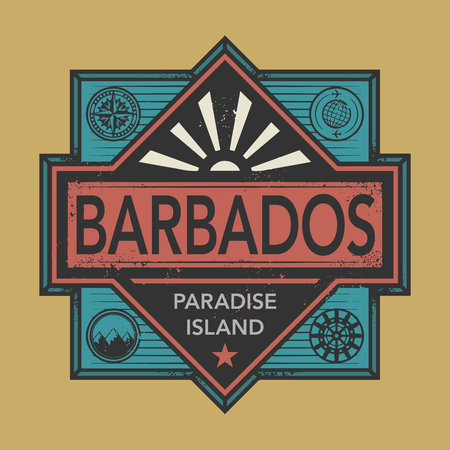 discovery: Stamp or vintage emblem with text Barbados, Discover the World, vector illustration