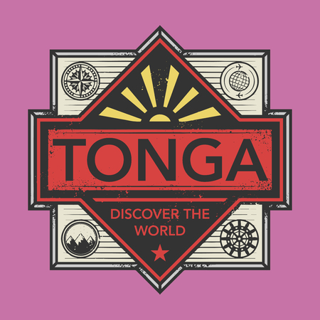 discover: Stamp or vintage emblem with text Tonga, Discover the World, vector illustration