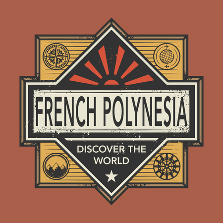 polynesia: Stamp or vintage emblem with text French Polynesia, Discover the World, vector illustration