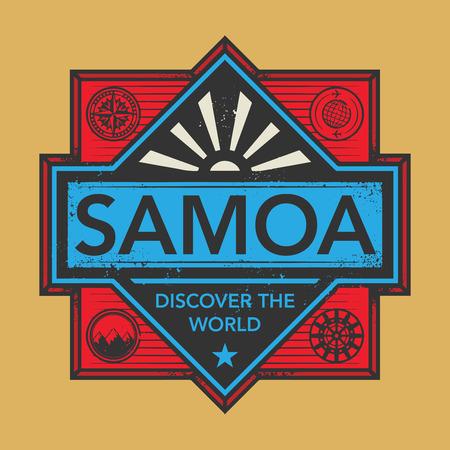 discover: Stamp or vintage emblem with text Samoa, Discover the World, vector illustration