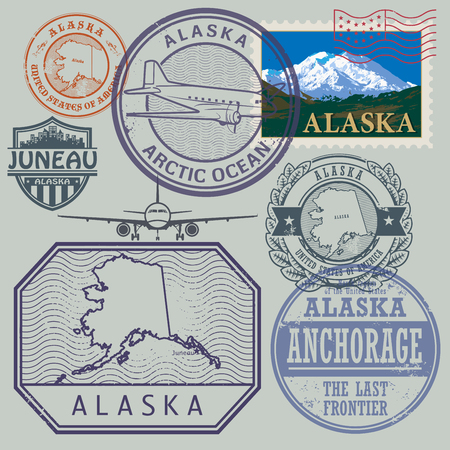 Stamp set with the name and map of Alaska, United States, vector illustration