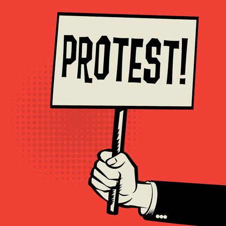 Dłoń trzymająca plakat, koncepcji z Protest tekstu, ilustracji wektorowych