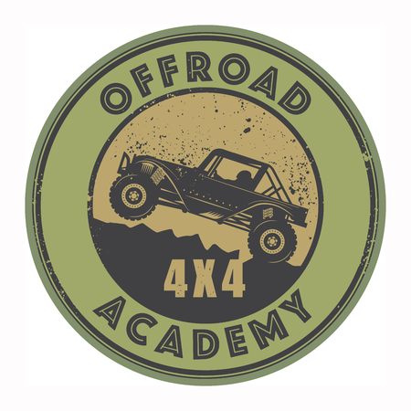 4wd: Grunge rubber stamp with words offroad, vector illustration