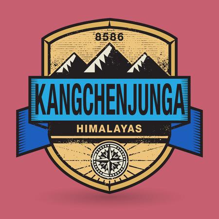 himalayas: Stamp or vintage emblem with text Kangchenjunga, Himalayas, vector illustration