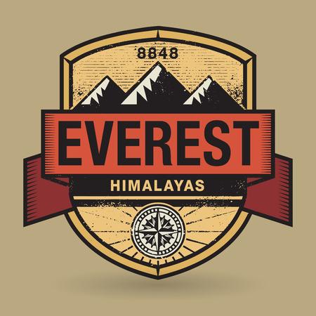 himalayas: Stamp or vintage emblem with text Everest, Himalayas, vector illustration