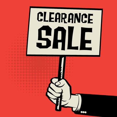retailing: Poster in hand, business concept with text Clearance Sale, vector illustration Illustration