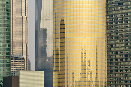 pudong district: Pudong district skyscrapers in Shanghai, China. Pudong is a district of Shanghai, located east of the Huangpu River. Stock Photo
