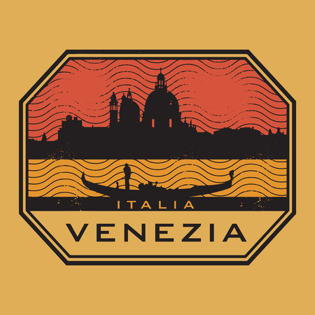 venezia: Grunge rubber stamp with the name of Venice, Italy written inside Illustration