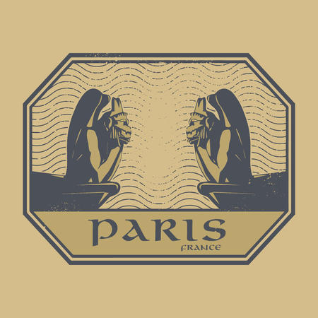 history architecture: Abstract retro grunge stamp or label with Stone Demons and text Paris, France illustration