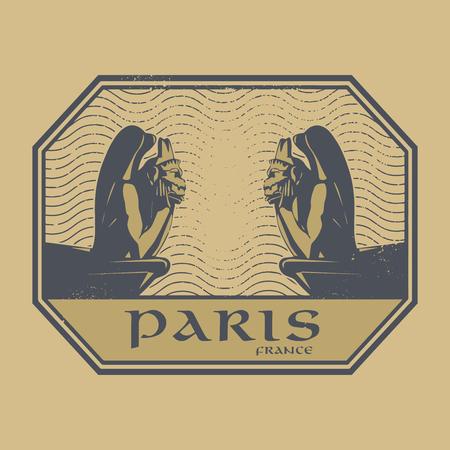 Abstract timbre grunge rétro ou étiquette avec Demons et texte Pierre Paris, France illustration Vecteurs