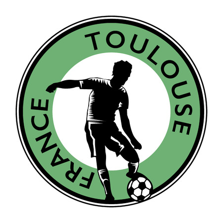 france stamp: Stamp or emblem with football (soccer) and text France, Toulouse illustration Illustration