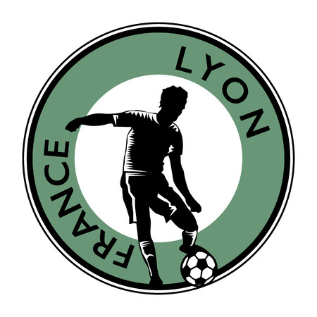 striker: Stamp or emblem with football (soccer) and text France, Lyon, vector illustration Illustration