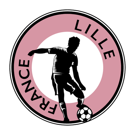 lille: Stamp or emblem with football (soccer) and text France Lille Illustration