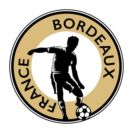 bordeaux: Stamp or emblem with football (soccer) and text France Bordeaux