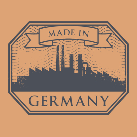 german mark: Abstract grunge stamp with industrial skyline and text Made in Germany