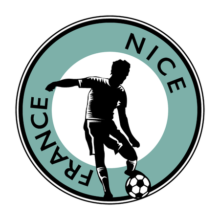 striker: Stamp or emblem with football (soccer) and text France Nice Illustration