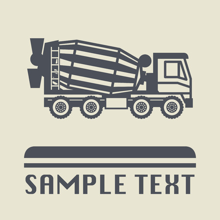concrete mixer truck: Concrete Mixer Truck icon or sign