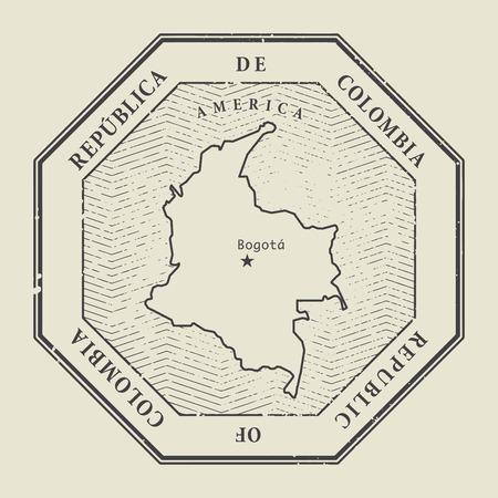 sello: Sello con el nombre y el mapa de Colombia, ilustración vectorial