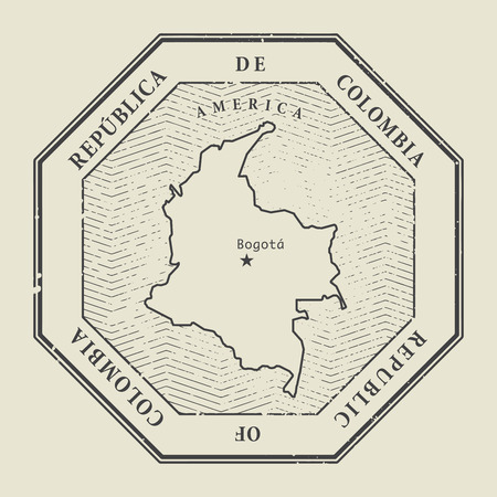 stamp: Stamp with the name and map of Colombia, vector illustration