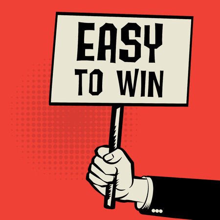 odds: Poster in hand, business concept with text Easy to Win, vector illustration Illustration
