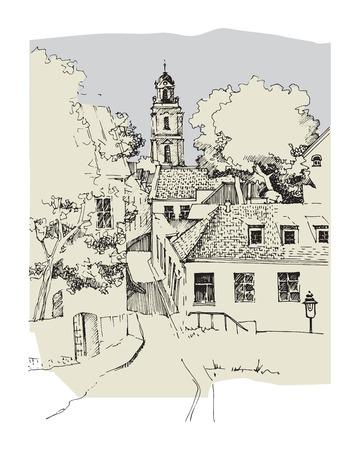 Architektur der Altstadt, Hand gezeichnete Skizze, Vektor-Illustration Vektorgrafik