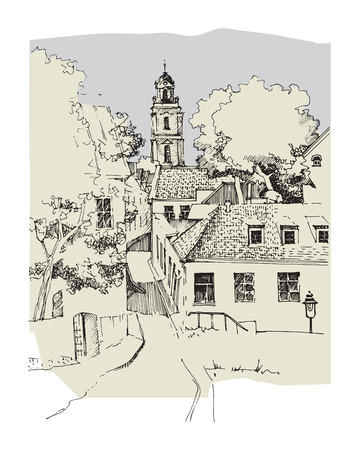 Architecture of old town, hand drawn sketch, vector illustration