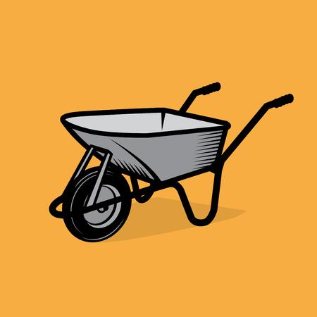 construction projects: Garden wheelbarrow cart, vector illustration