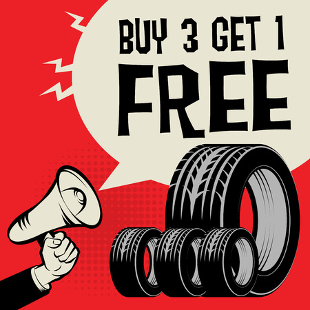 Megaphone Hand, business concept with text Buy 3 Get 1 Free, vector illustration